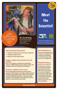 Meet the Scientist! Mr. Gary Bentrup