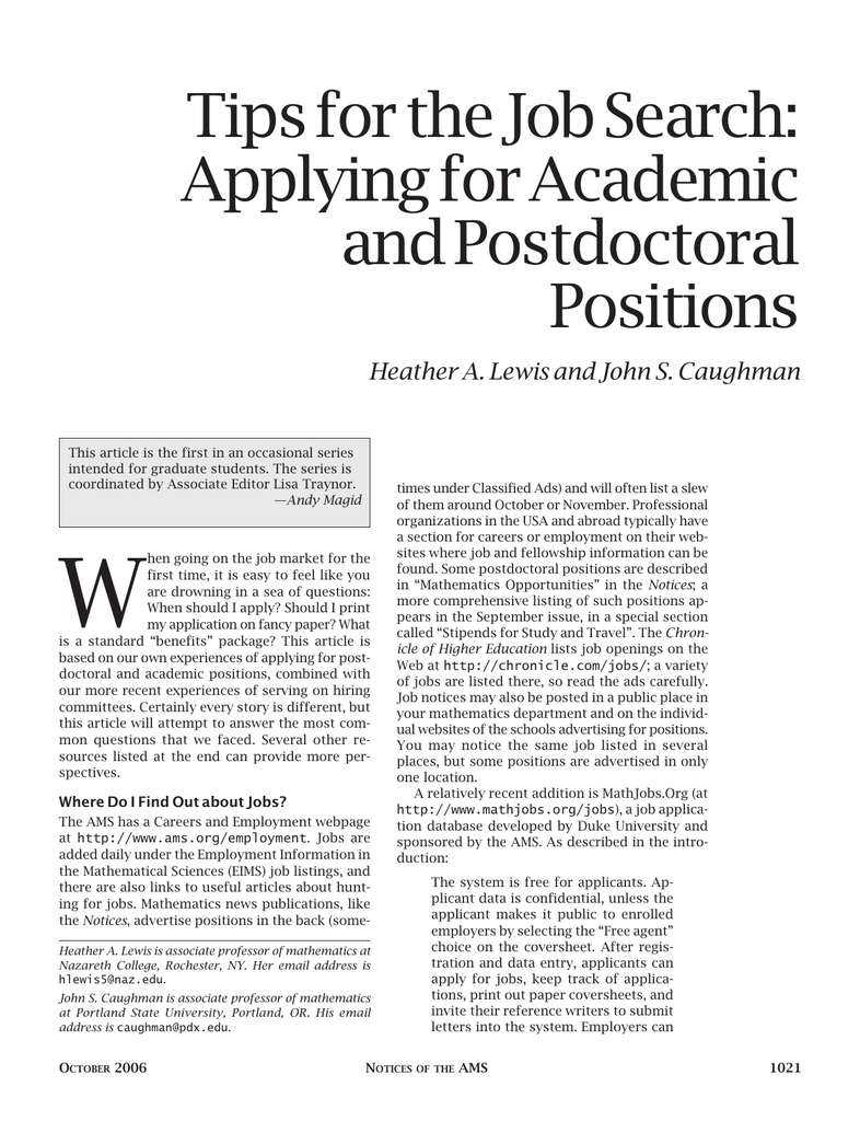 Tips for the Job Search: Applying for Academic and