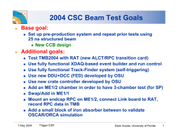 2004 CSC Beam Test Goals Base goal: Additional goals: