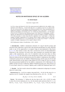 NOTES ON WHITEHEAD SPACE OF AN ALGEBRA M. ARIAN-NEJAD