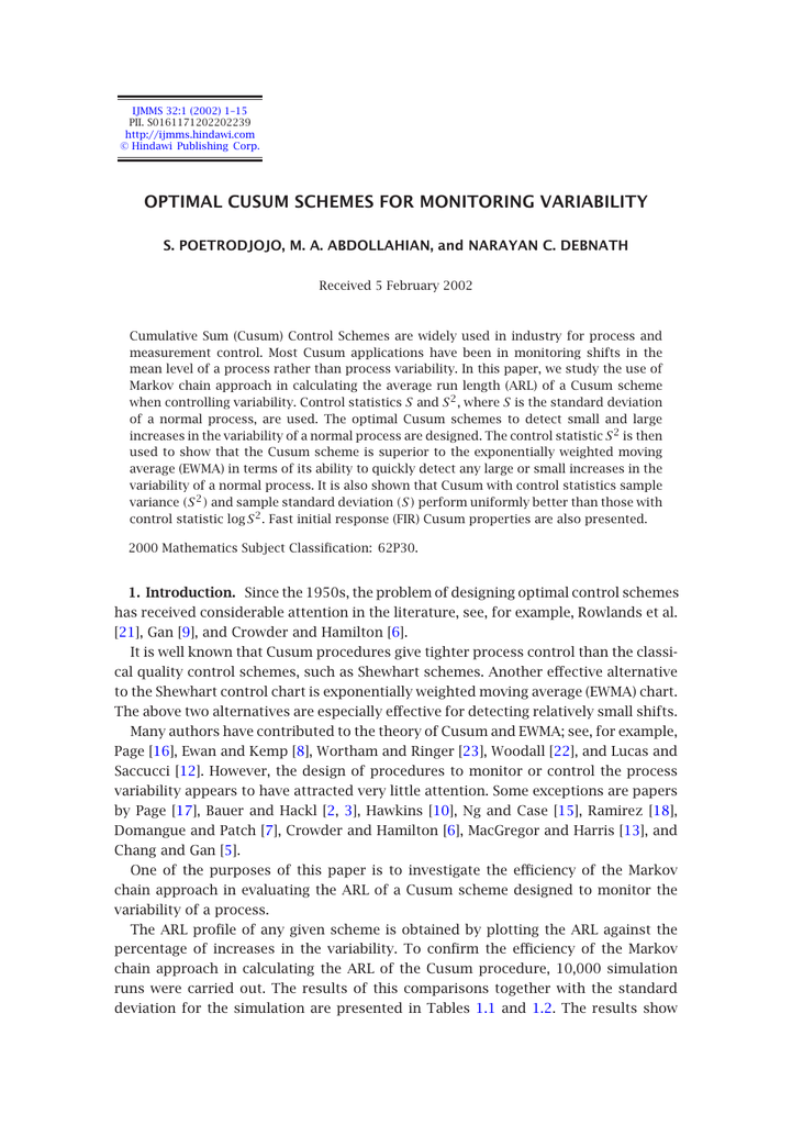 OPTIMAL CUSUM SCHEMES FOR MONITORING VARIABILITY
