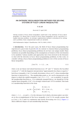 AN ENTROPIC REGULARIZATION METHOD FOR SOLVING SYSTEMS OF FUZZY LINEAR INEQUALITIES