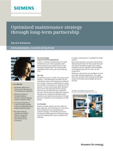 Optimized maintenance strategy through long-term partnership Service Solutions Instrumentation, Controls & Electrical