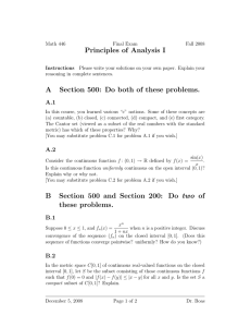 Principles of Analysis I