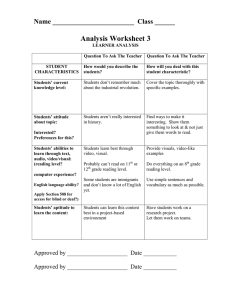Analysis Worksheet 3 Name ________________________  Class ______