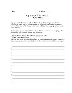 Implement Worksheet 21 Name ________________________  Period________  REVISISONS