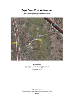 Cape Farm 1010, Wolwerivier Basic Heritage Background information  Prepared for