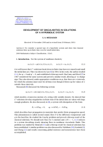 DEVELOPMENT OF SINGULARITIES IN SOLUTIONS OF A HYPERBOLIC SYSTEM S. A. MESSAOUDI