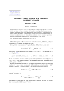 BOUNDARY CONTROL PROBLEM WITH AN INFINITE NUMBER OF VARIABLES HUSSAIN A. EL-SAIFY