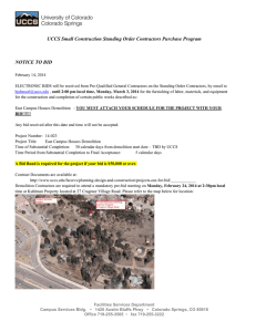 UCCS Small Construction Standing Order Contractors Purchase Program  NOTICE TO BID