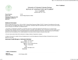 University of Colorado-Colorado Springs NOTICE OF CONTRACTOR'S SETTLEMENT Published