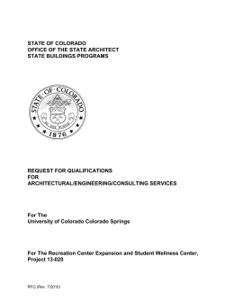STATE OF COLORADO OFFICE OF THE STATE ARCHITECT STATE BUILDINGS PROGRAMS