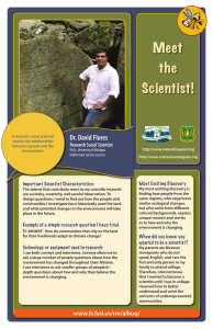 Dr. David Flores Research Social Scientist Most Exciting Discovery Important Scientist Characteristics: