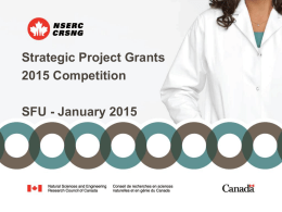 Strategic Project Grants 2015 Competition SFU - January 2015