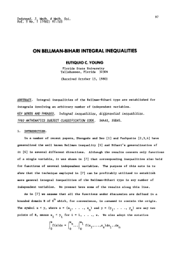 BELLMAN-BIHARI ON INTEGRAL INEQUALITIES