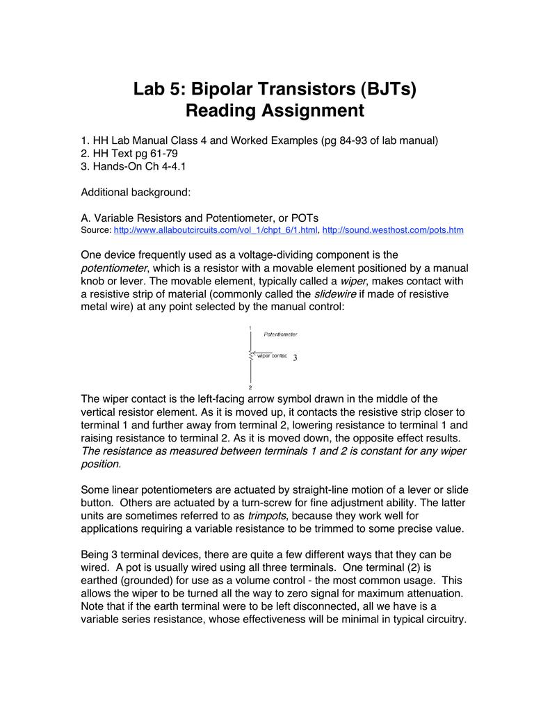 Lab 5: Bipolar Transistors (BJTs) Reading Assignment