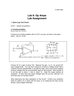 Lab 8: Op Amps Lab Assignment