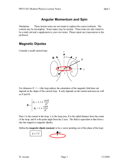 Angular Momentum and Spin