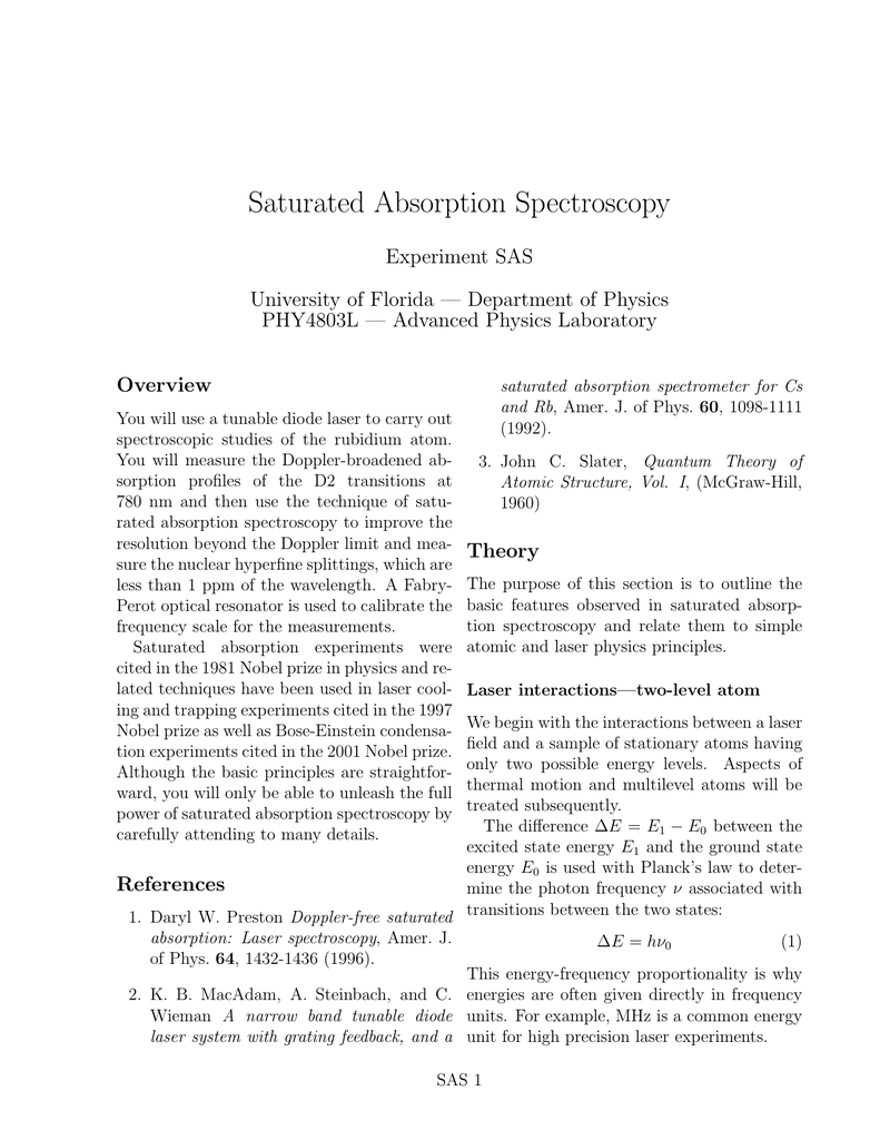 Saturated Absorption Spectroscopy Experiment SAS University