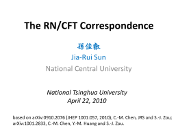 The RN/CFT Correspondence 孫佳叡 Jia-Rui Sun National Central University