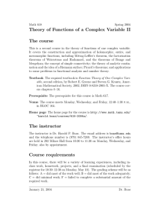 Theory of Functions of a Complex Variable II The course