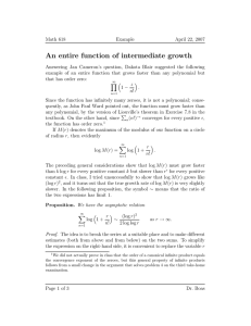 An entire function of intermediate growth