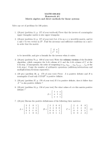 MATH 609-602 Homework #1 Matrix algebra and direct methods for linear systems