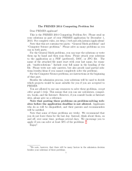 The PRIMES 2014 Computing Problem Set Dear PRIMES applicant!