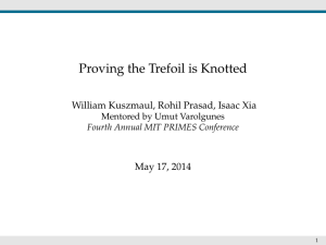 Proving the Trefoil is Knotted William Kuszmaul, Rohil Prasad, Isaac Xia