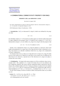 A COMBINATORIAL COMMUTATIVITY PROPERTY FOR RINGS