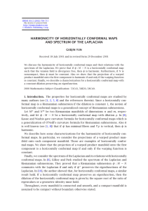 HARMONICITY OF HORIZONTALLY CONFORMAL MAPS AND SPECTRUM OF THE LAPLACIAN GABJIN YUN