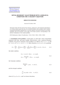 INITIAL-BOUNDARY VALUE PROBLEM WITH A NONLOCAL CONDITION FOR A VISCOSITY EQUATION