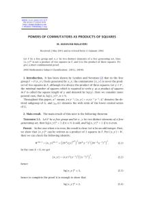 POWERS OF COMMUTATORS AS PRODUCTS OF SQUARES M. AKHAVAN-MALAYERI