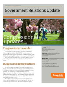 Congressional updates Government Relations Update Congressional calendar