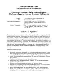 Electricity Transmission in Deregulated Markets: Challenges, Opportunities and Necessary R&D Agenda