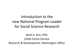Introduction to the new National Program Leader for Social Science Research