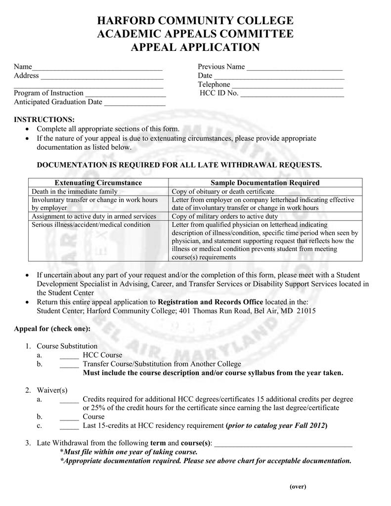 Harford Community College Academic Appeals