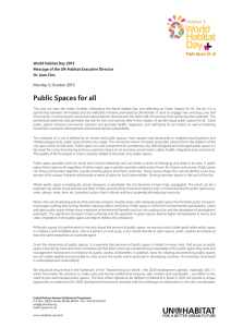 Public Spaces for all World Habitat Day 2015 Dr. Joan Clos