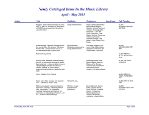 Newly Cataloged Items In the Music Library April - May 2015 Author Title