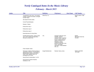 Newly Cataloged Items In the Music Library February - March 2015 Author Title