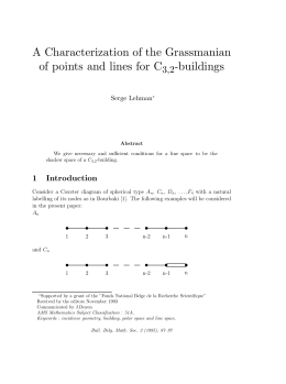 A Characterization of the Grassmanian of points and lines for C -buildings ,