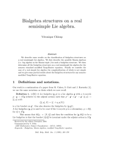 Bialgebra structures on a real semisimple Lie algebra. V´ eronique Chloup