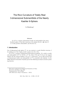 The Ricci Curvature of Totally Real 3-dimensional Submanifolds of the Nearly