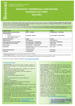 UNIVERSITA' COMMERCIALE LUIGI BOCCONI EXCHANGE FACT SHEET 2012-2013