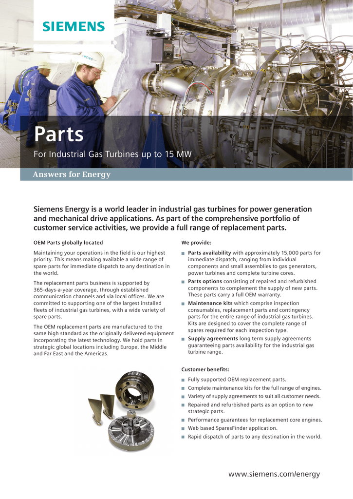 Parts For Industrial Gas Turbines up to 15 MW