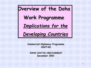 Overview of the Doha Work Programme Implications for the Developing Countries
