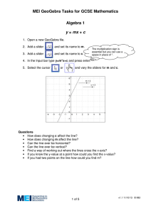 MEI GeoGebra Tasks for GCSE Mathematics Algebra 1  y