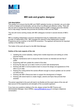 MEI web and graphic designer  Job description
