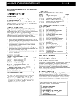 HORTICULTURE  ASSOCIATE OF APPLIED SCIENCE DEGREE 2011-2012