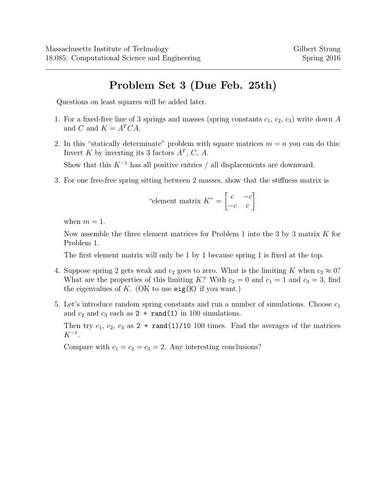 Massachusetts Institute of Technology Gilbert Strang 18 085